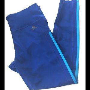 Adidas 7/8 sport tights BLUE  high rise Large NWT